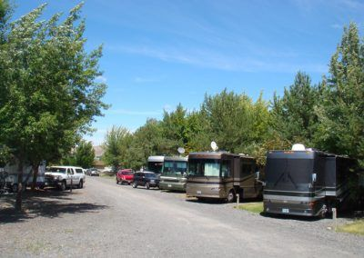 Long shaded pull-through RV sites
