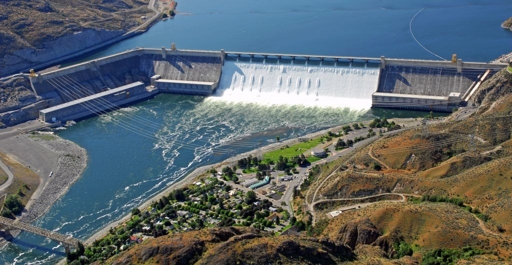 Aerial photo of Grand Coulee Dam