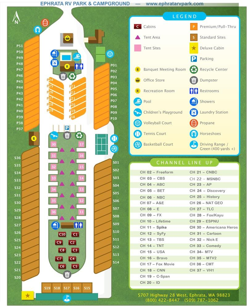 Small image of the Ephrata RV Park & Campground Park Map